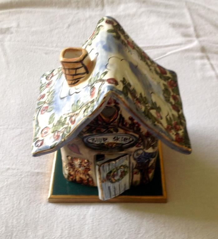 Blue Skies Ceramic Cottage Cat Bird House Tealight Votive by Heather Goldminc