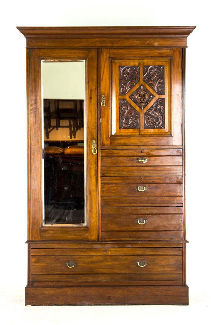 B688 Antique Victorian Mahogany Armoire, Gentleman's Wardrobe, Dresser, Storage
