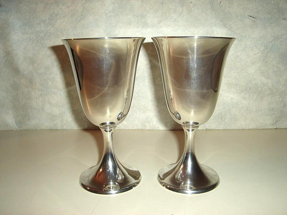 2 Sterling Silver Wine Goblets by International #P661