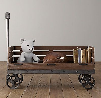 RESTORATION HARDWARE WOODEN STORAGE WAGON