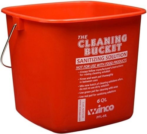 Winco PPL-6R Cleaning Bucket, 6-Quart, Red Sanitizing Solution