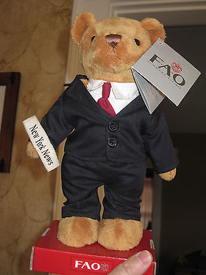 New FAO Schwarz Plush teddy bear dress in a suit with Newspaper