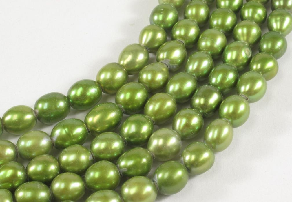 6 to 7 x 8 to 9mm Hole Size 2.1 mm Rice/Oval Pearls Beads 2 Color Options (#183)