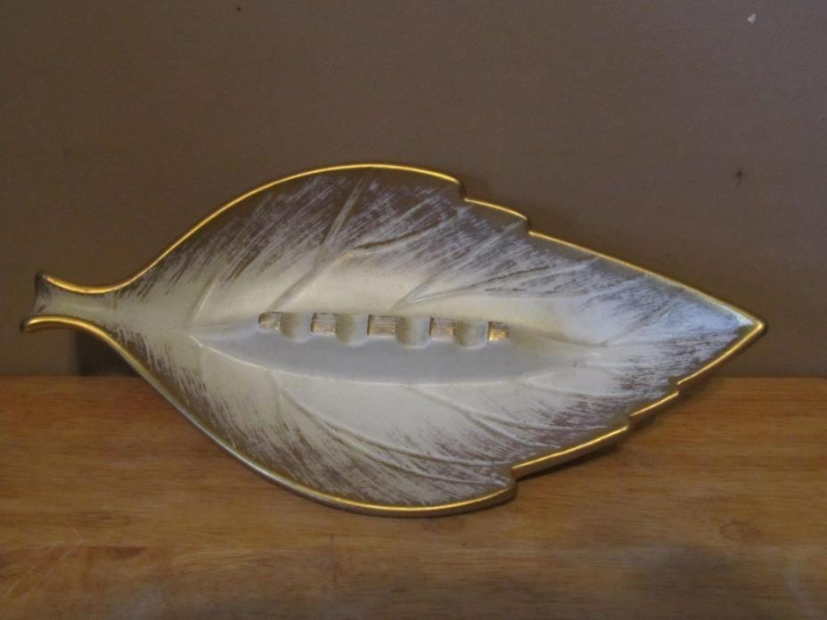 Vintage Royal Haeger USA Pottery Gold Tweed 185-S Leaf Shaped Ashtray~Great Cond