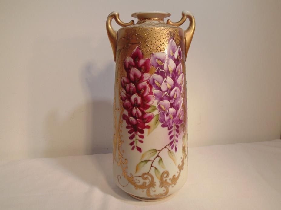 PRETTY RARE NIPPON WISTERIA 2 HANDLE VASE - PAGODA MARK #71