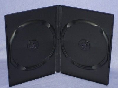 NEW! 10 Double Disc DVD Cases 14mm Black - Holds 2 discs - Two