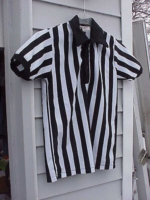 D A  ATHLETIC GAME  REFEREE SHIRT  MEN's MED BLACK&WHITE STRIPES