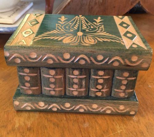 Vtg Wood Wooden Puzzle Box