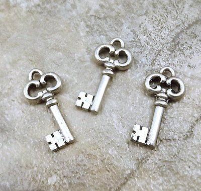 Set of Three (3) Silver Tone Pewter Antique Skeleton Key Charms - 0163