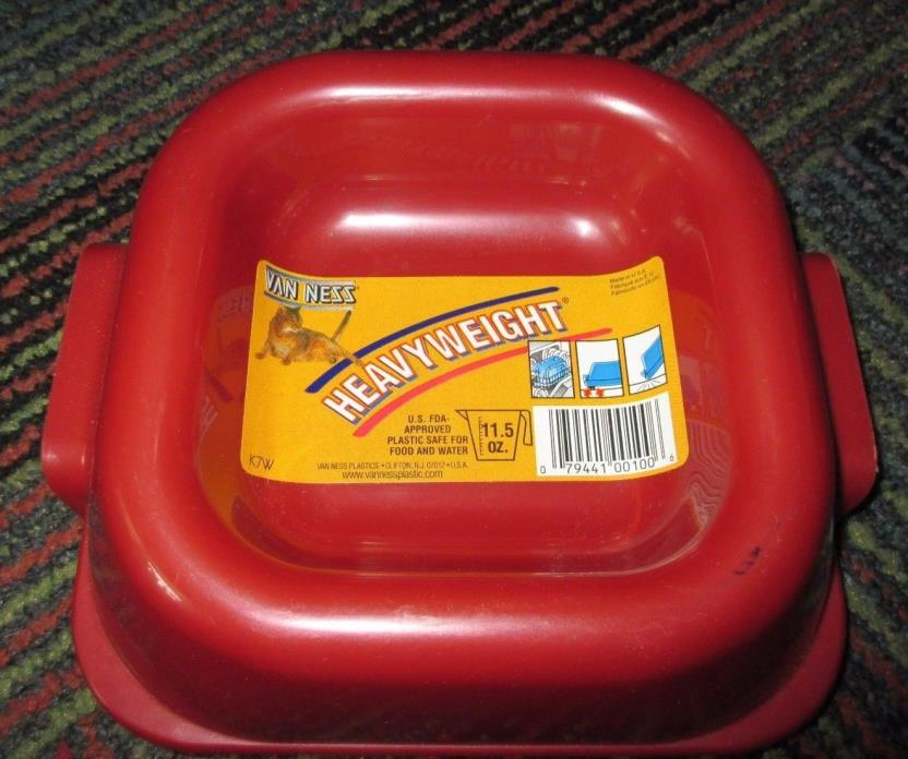NEW VAN NESS HEAVYWEIGHT 11.5OZ. MAROON PET WATER / FOOD BOWL, SIZE:  7