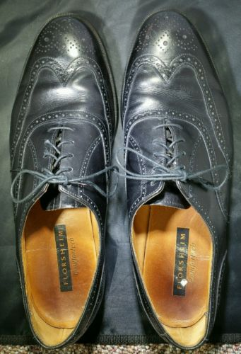 Vintage Florsheim Wingtips Mens 11.5 D Black Leather Imperial Comfortech