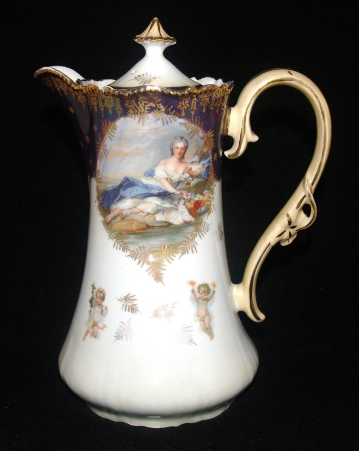ANTIQUE UNMARKED RS PRUSSIA DIANA THE HUNTRESS PORCELAIN CHOCOLATE POT GILT DEC
