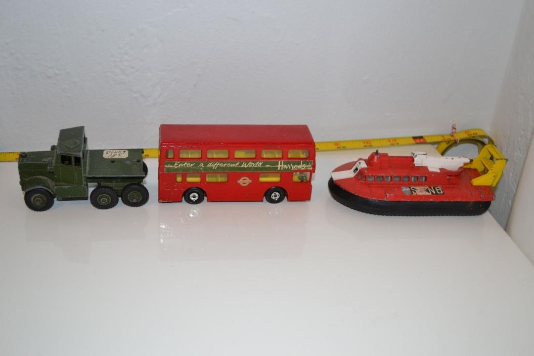Die Cast Super Kings Matchbox Harrods Bus Dinky Army Truck Boat Hovercraft