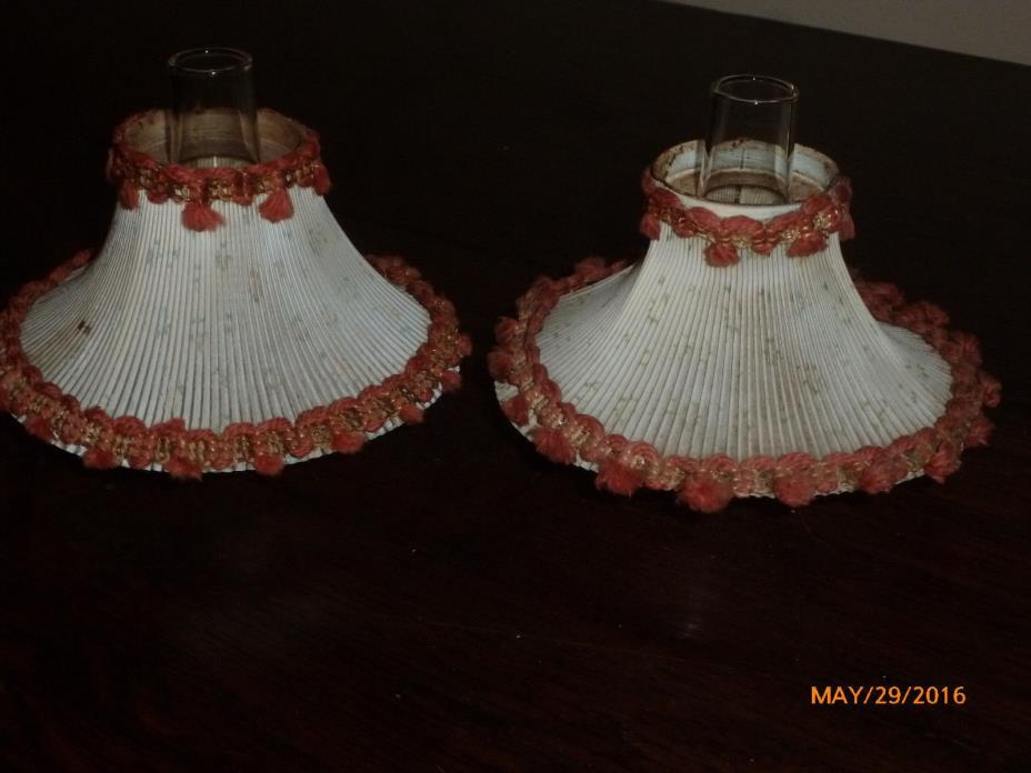 2 Vintage Miniature Oil Lamp Shades for Antique Oil Lamps