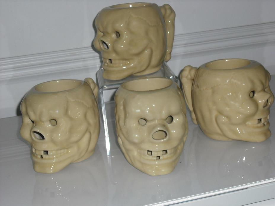 LOT OF 4 SKULL TIKI MUG MUGS HOT BUTTER RUM RARE YELLOW COLOR MINT NO CRAZING