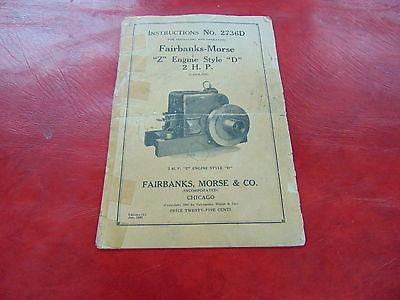 original paper back book Fairbanks Morse 2 HP Style  D  Instructions No. 2736D