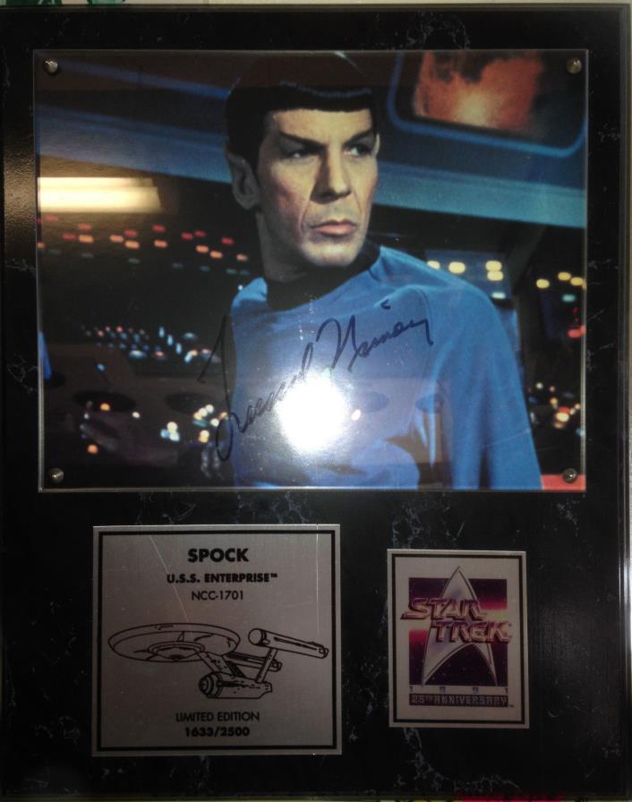 Leonard Nimoy Star Trek Hand Signed Plaque 25th Anniversary Commemorative