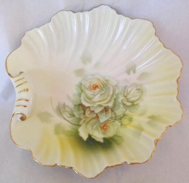 Royal RUDOLSTADT Prussia CLAM SHELL BOWL - Hand Painted WHITE ROSE