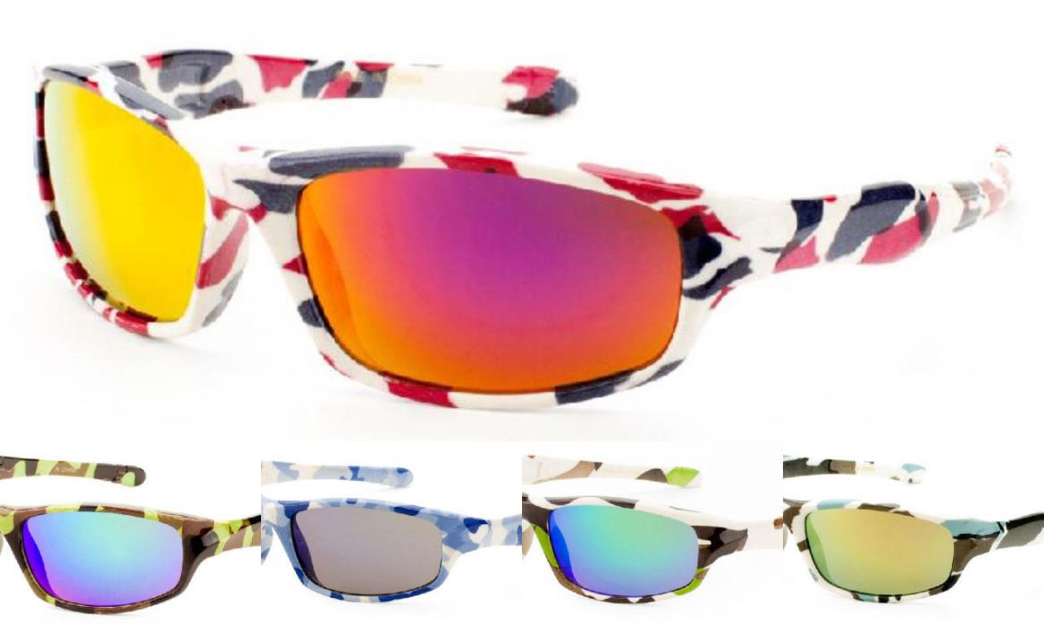 Lot of 12 Kids Sporty Camouflage Sunglasses With Color Mirror Lens