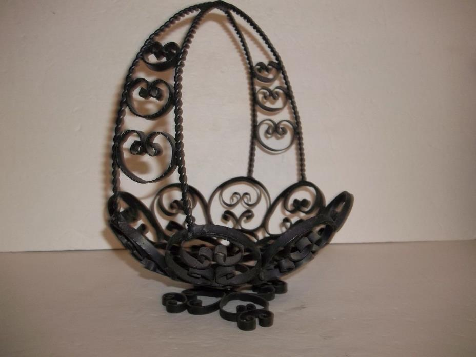 Vintage Spanish Black Wrought Iron Scroll Lace Basket 1950s Shabby Chic Country