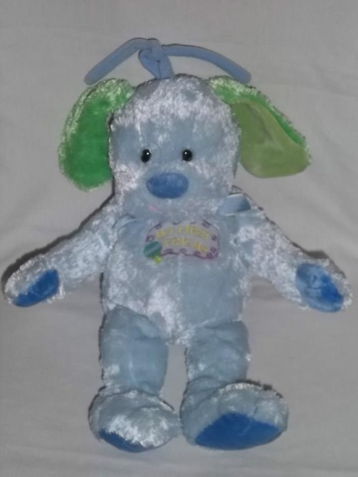 COMMONWEALTH Crib Pull Plush DOG Puppy Musical Toy MY FIRST FRIEND Blue Stuffed