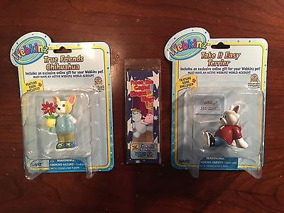 Webkinz Kinz Terrier Figurine,  Chihuahua Figurine and Bookmark New Unopened