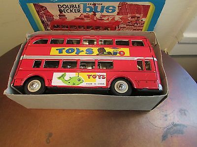 Tin Double Decker Bus, Friction, Vintage in Box, 8 inches, Excellent Vtg. Cond.