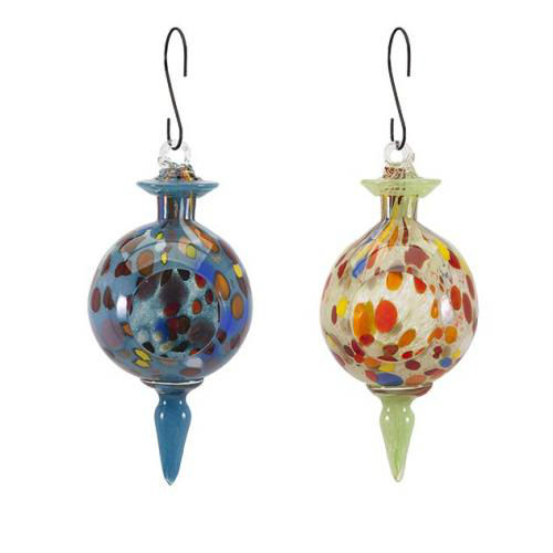 Aviary Glass Bird Feeders-Set of 2-Asst-Backyard Decoration-Outdoor Multi-Color