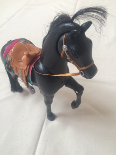 Mattel 2002 Black Stallion With Western Saddle Head Moves And Neighs