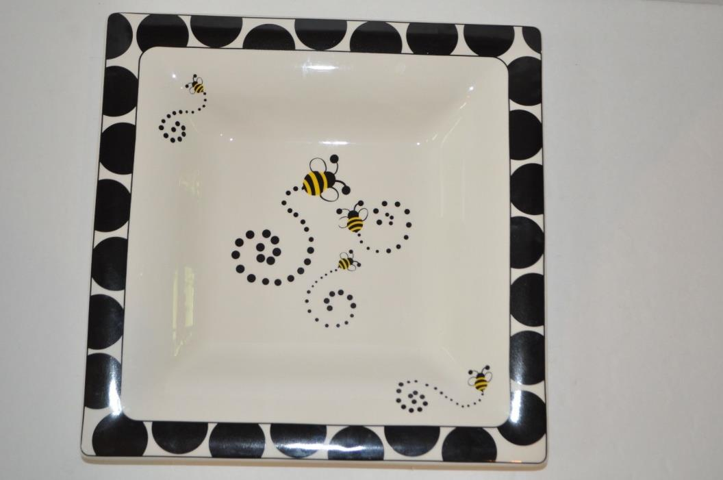 Blue Sky Clayworks Bumble Bee Square Decorative Tray 13