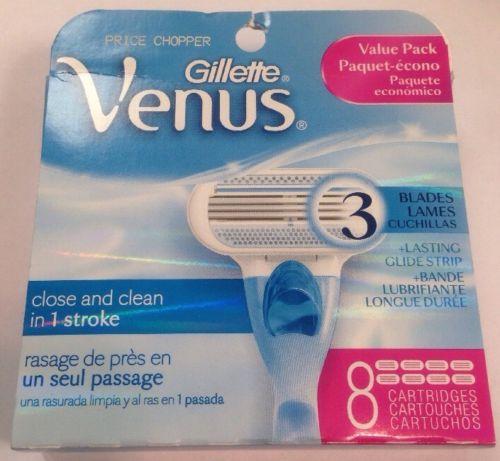 NEW - Women Gillette Venus 3 Blades - 8 Cartridges
