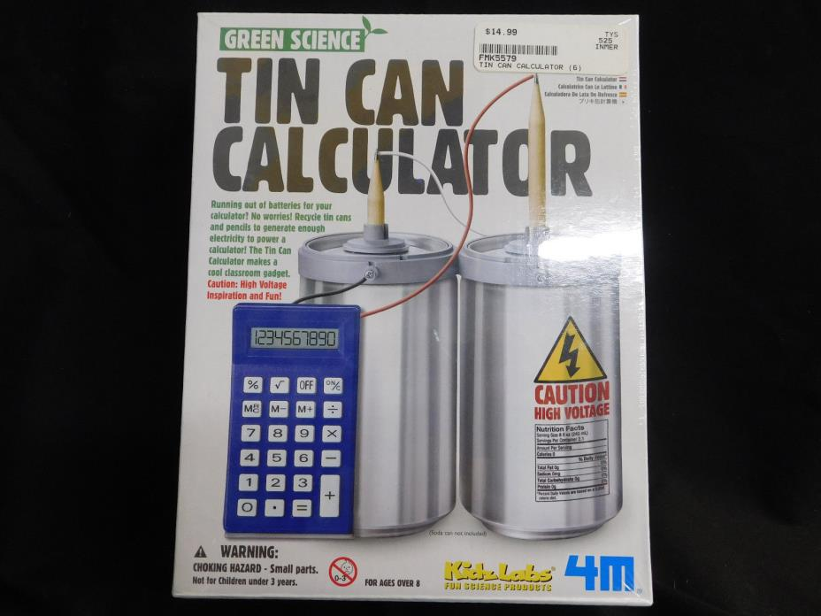 GREEN SCIENCE TIN CAN CALCULATOR NEW SEALED