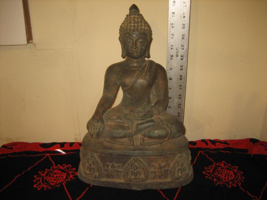 RARE ANTIQUE EX THAI NATIONAL MUSEUM SEATED BRONZE STATUE BUDDHA IMAGE 15'H