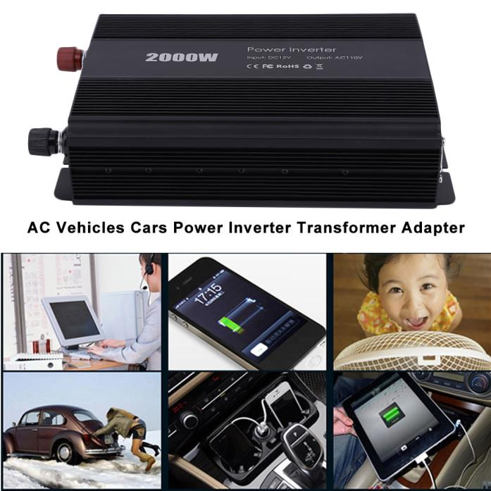 PRO 2000W 12V DC To 110V AC Vehicles Cars Power Inverter Transformer Adapter G1
