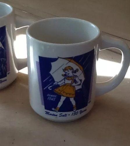 Vintage Set Of 4 Morton Salt Cups/mugs 1968, 1956, 1921, 1914