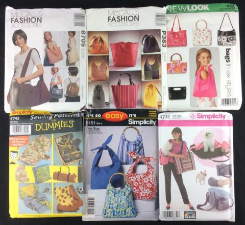 Lot of 6 Sewing Patterns Purses Handbags Totes Pet Carriers Fleece Blanket