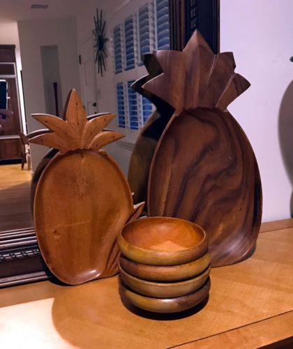 Pineapple Monkey Pod Trays And Bowls