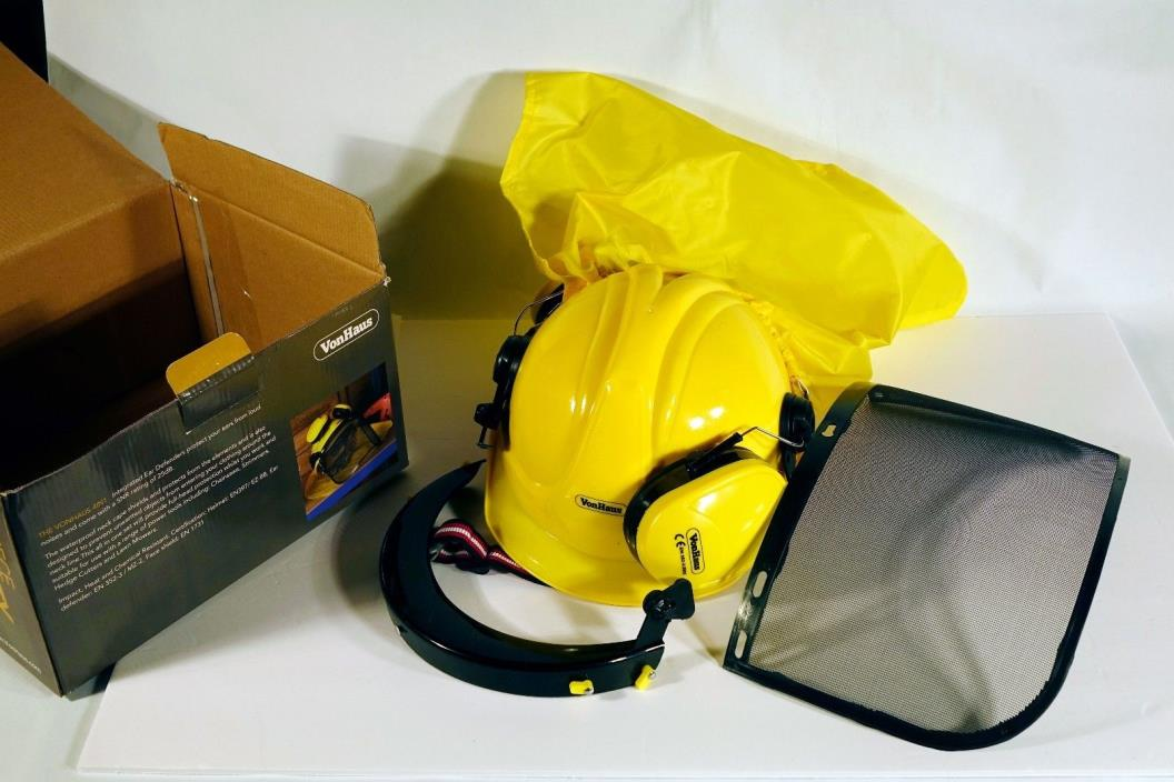 VonHaus 4 in 1 Safety Set Hard Hat Helmet Visor Ear Defenders Neck Cape