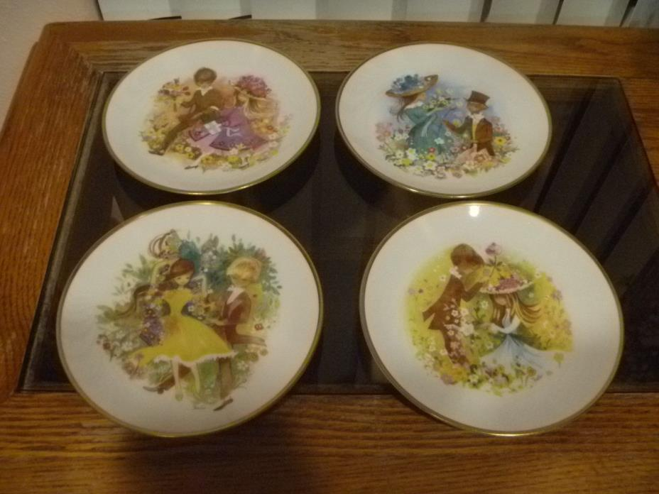 Set of 4 Courting Scenes Shenango Fine China 6 1/4