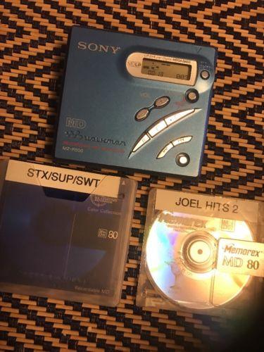 Sony MZ-R500 Used Portable Mini Disc Recorder Walkman & 2 Discs. TESTED