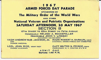1967 Armed Forces Day Parade ticket New York City - 50 yrs old