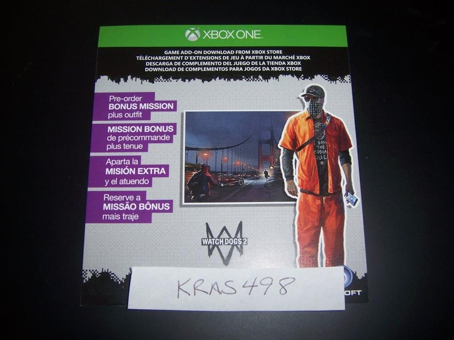 WATCH DOGS 2 TWO BONUS MISSION Code DLC Download XB1 XB 1 Xbox One