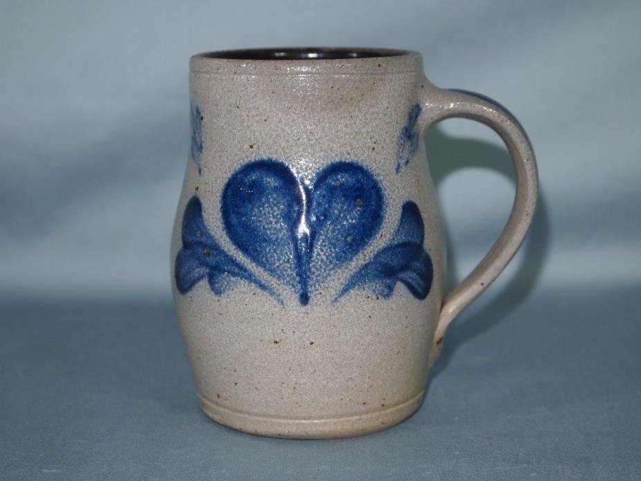 Vintage Rowe Pottery Mug 1994 Blue Heart Salt Glaze