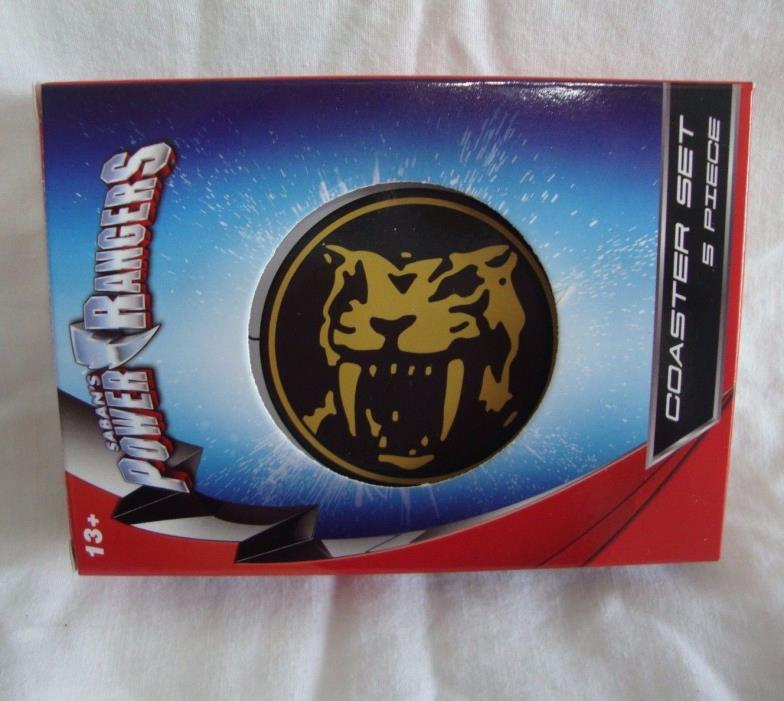 Power Rangers 5 Piece Coaster Set Mega Zord Animal Logos NEW Nerd Block Excl