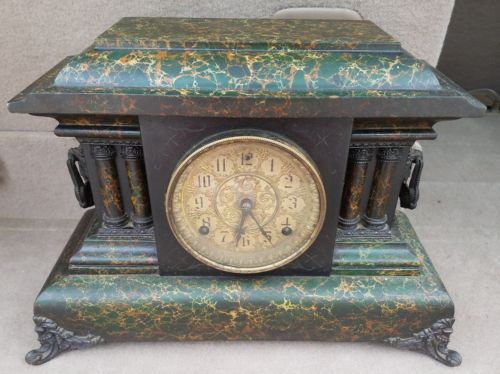 Antique Pillars Victorian Mantle Clock . Marble Design. Parts ONLY or Repair.