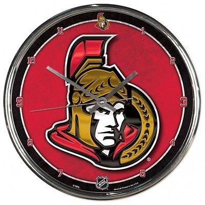 Ottawa Senators Clock - Wall - Round Chrome