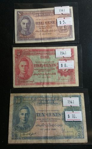 Malaya 1941 1,5,10 cents Banknote Really Nice High Grade Paper Money Full Set
