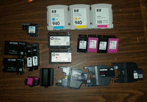Lot of 19 Assorted Used Ink Cartridges From HP Epson Brother HP 61 933 940 564