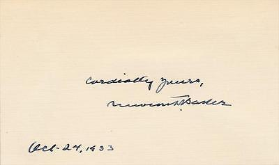 Newton Baker- 1930's Signed Index Card