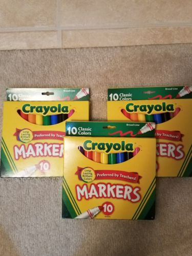 CRAYOLA MARKERS CLASSIC BROAD LINE, 10 pack